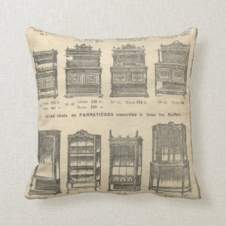Vintage french furniture catalogue throw pillow