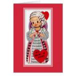 Vintage French Girl Valentine Card
