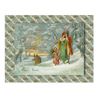 Vintage French Greetings, A walk in the forest Postcard