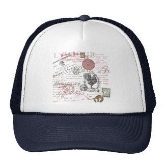 Vintage French Handwriting Paris Rooster Cap