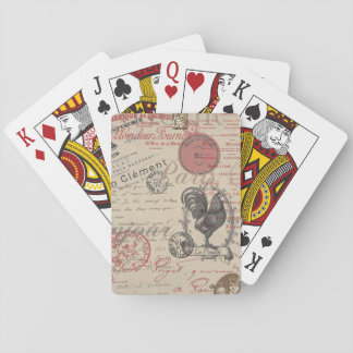 Vintage French Handwriting Paris Rooster Playing Cards