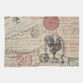 Vintage French Handwriting Paris Rooster Tea Towel