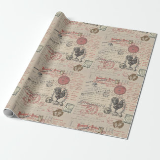 Vintage French Handwriting Paris Rooster Wrapping Paper