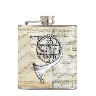 Vintage French Horn Music Flask