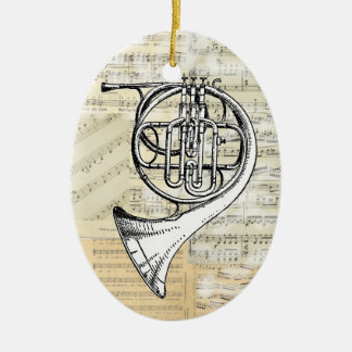 Vintage French Horn Music Ornament