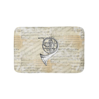 Vintage French Horn Sheet Music Bath Rug