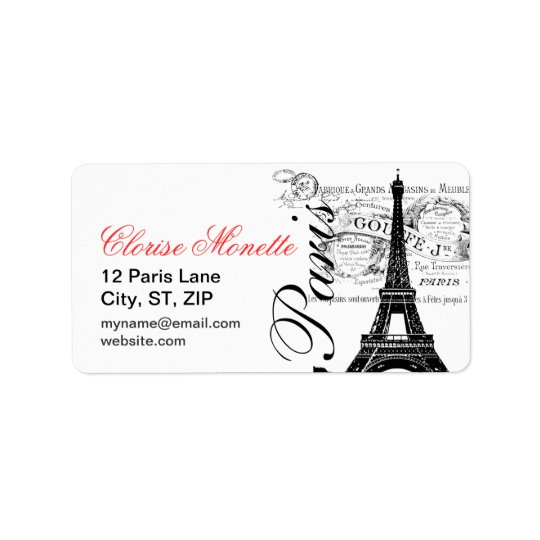 Vintage French Illustrated Eiffel Tower Address Label