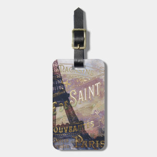Vintage French Label and Eiffel Tower Luggage Tag