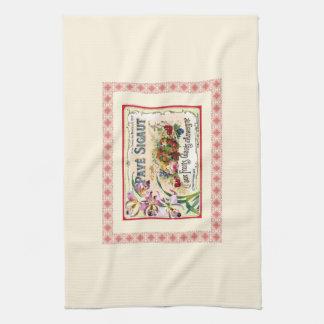 Vintage French Label Flowers Fruit Pink Border Tea Towel