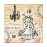 Vintage French lady collage stretched canvas Gallery Wrap Canvas
