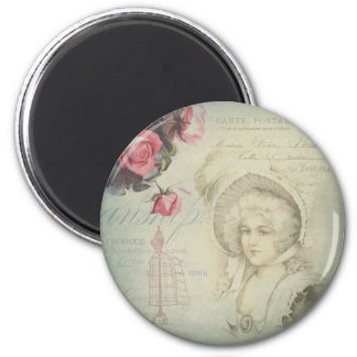 Vintage French Lady Pink Roses Dress Form Collage 6 Cm Round Magnet