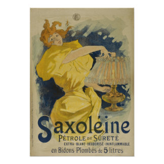Vintage French Lamp Oil Advertisement Poster