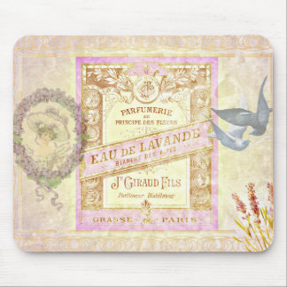 Vintage French Lavender Perfume Collage Mouse Mat