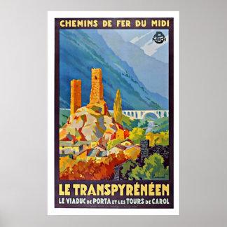 Vintage French Le Transpyrénéen Travel Poster Poster