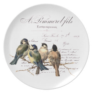 Vintage French Letter and Birds Plate