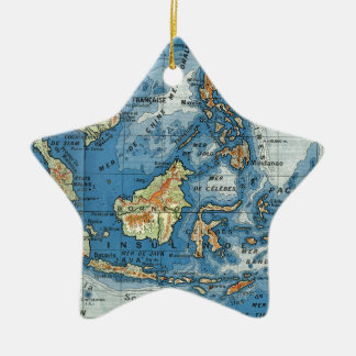 Vintage French map of Indonesia Ceramic Star Decoration