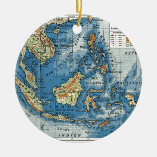 Vintage French map of Indonesia Christmas Ornament