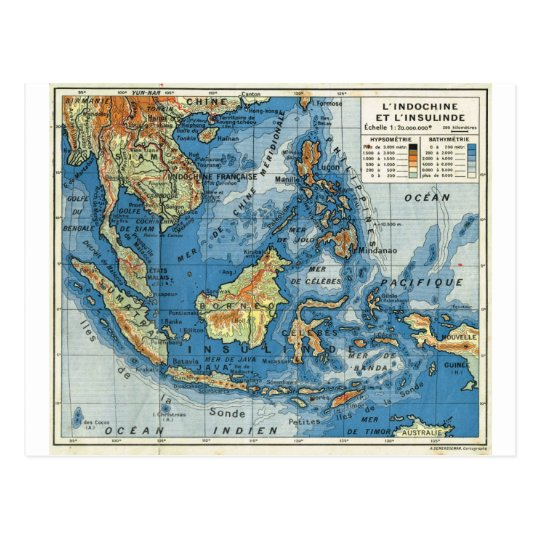 Vintage French map of Indonesia Postcard