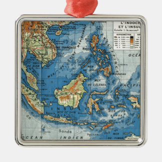 Vintage French map of Indonesia Silver-Colored Square Decoration