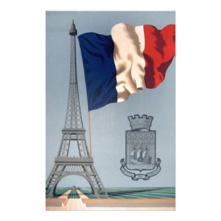 Vintage French National Flag & Eiffel Tower Personalised Stationery
