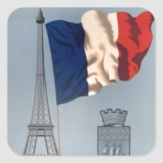 Vintage French National Flag & Eiffel Tower Square Sticker