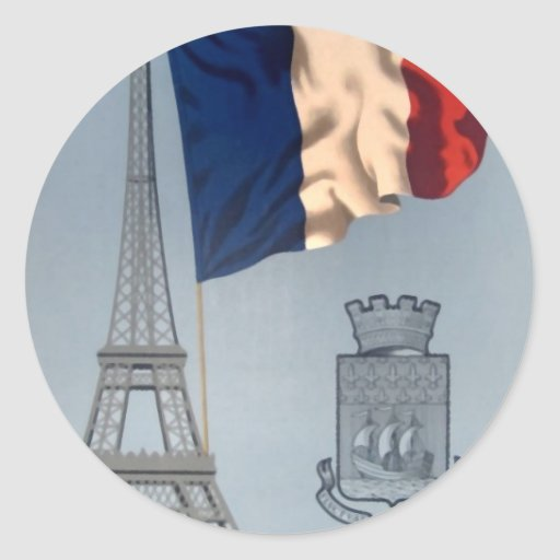 Vintage French National Flag & Eiffel Tower Stickers