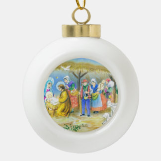 Vintage French Nativity scene Ceramic Ball Decoration