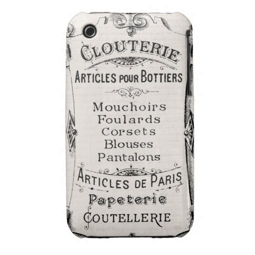 Vintage French Paris  Label IPONE Case Cover 3 iPhone 3 Cover