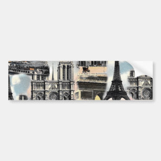 Vintage French Paris Travel Collage Eiffel Tower Bumper Sticker