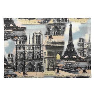 Vintage French Paris Travel Collage Eiffel Tower Placemat