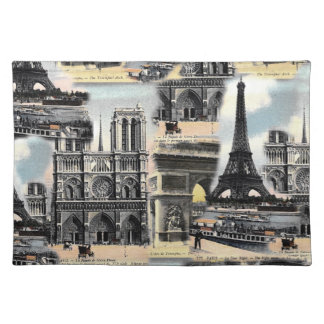 Vintage French Paris Travel Collage Eiffel Tower Placemats