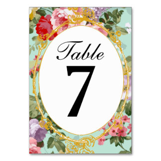 Vintage French Parisian Pink & Red Roses Tablecard Table Card