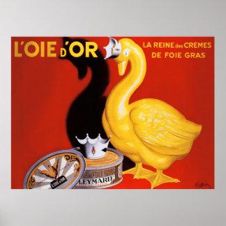 Vintage French Pate Food Art Poster Golden Goose