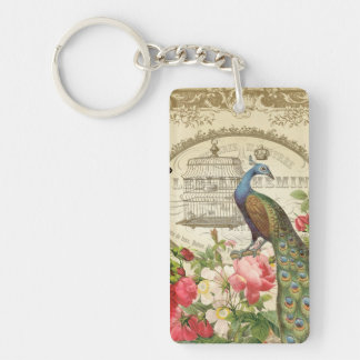 Vintage French Peacock keychain