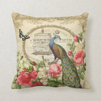 Vintage French Peacock pillow Cushions