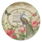 Vintage French Peacock  plate