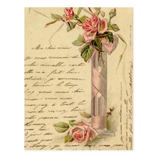Vintage French Pink Roses Postcard