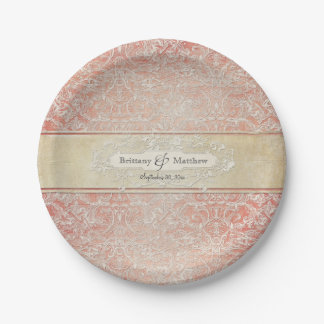 Vintage French Regency Lace Wedding Decor 7 Inch Paper Plate