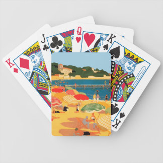 Vintage French Riviera Beach Bicycle Playing Cards