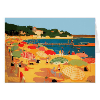 Vintage French Riviera Beach Greeting Card