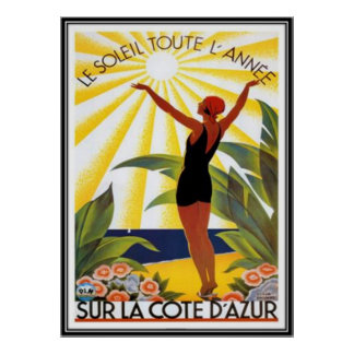 Vintage French Riviera, France - Poster