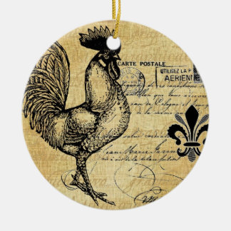 Vintage French Rooster On Burlap Christmas Ornament
