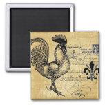 Vintage French Rooster On Burlap Magnet