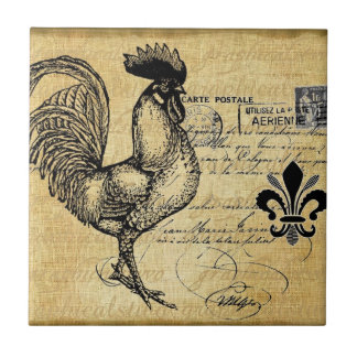 Vintage French Rooster On Burlap Small Square Tile