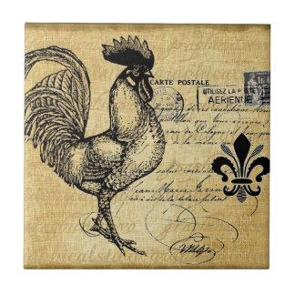 Vintage French Rooster On Burlap Tile
