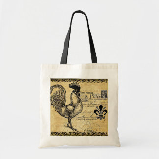 Vintage French Rooster On Burlap Tote Bag