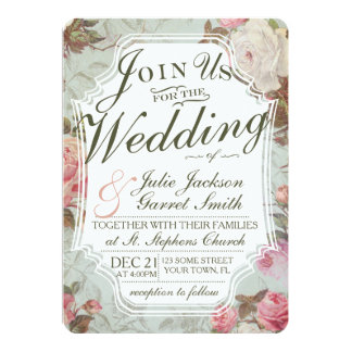 Vintage French Rose Garden Wedding Invitation