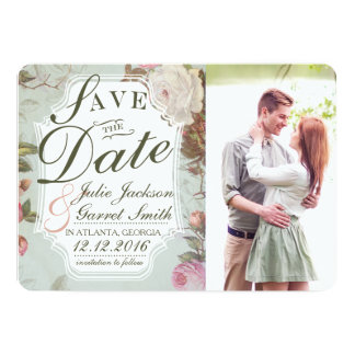 Vintage French Rose Garden Wedding Save the Date Card