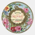 Vintage French Rose Perfume Round Sticker