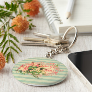 Vintage French, roses and advertising postcard Basic Round Button Key Ring